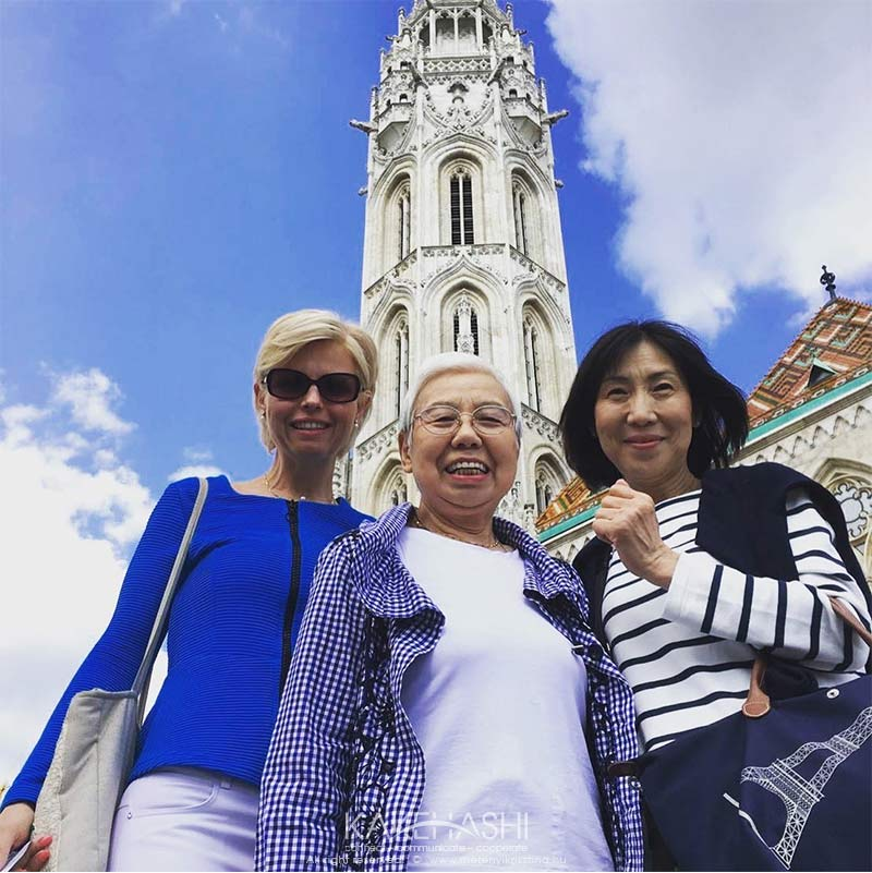 With Japanese tourists at Matthias Church, Budapest