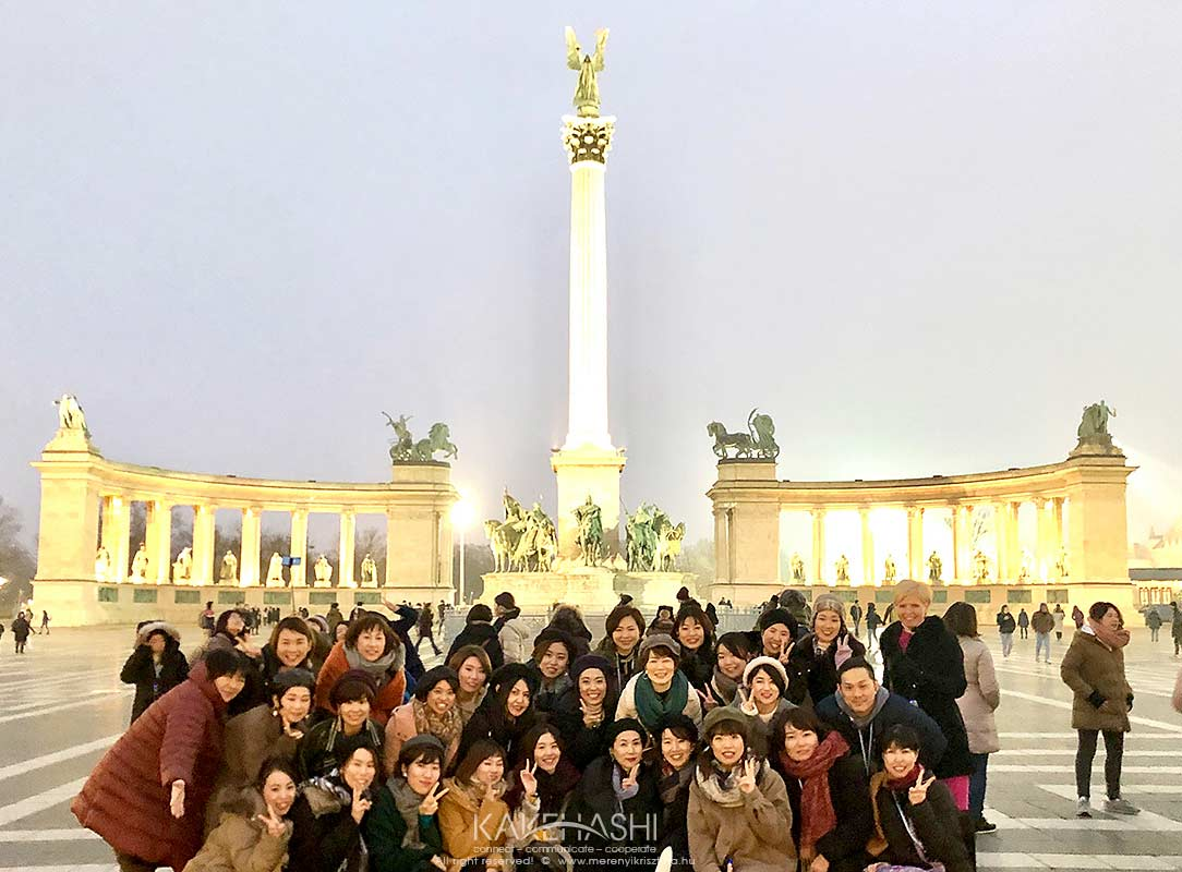 With Japanese tourists at Heroes Square