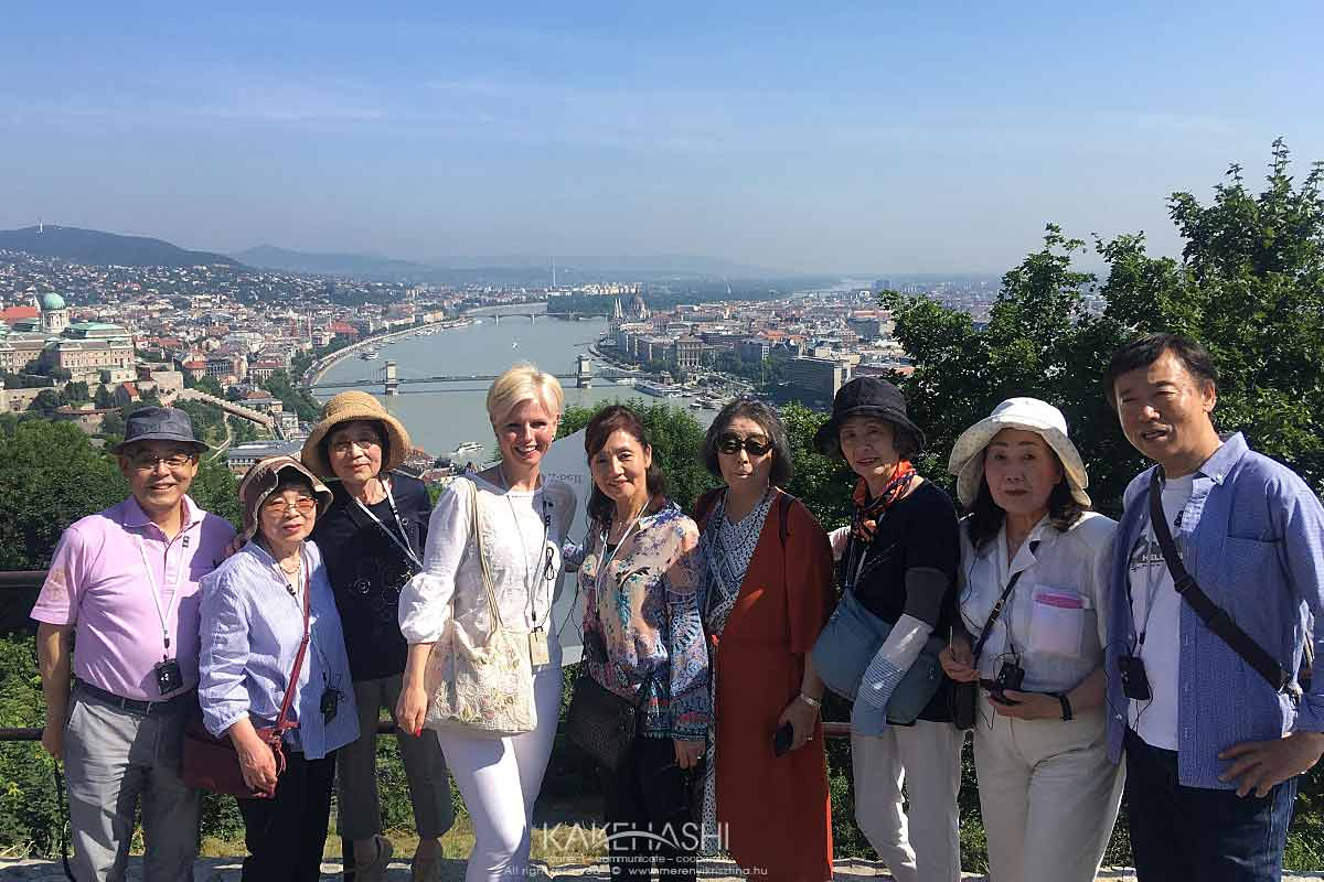 With Japanese tourists on the top of Gellért Hill