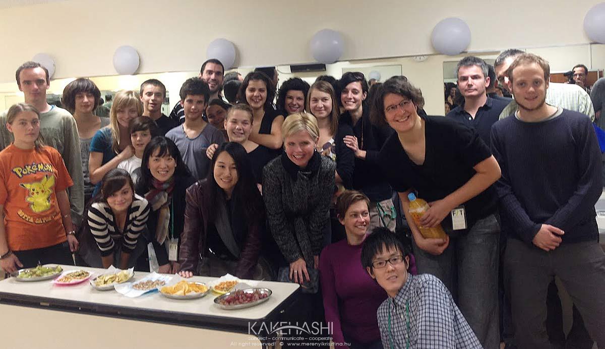 With the Krétakör theatre members in Japan in 2016