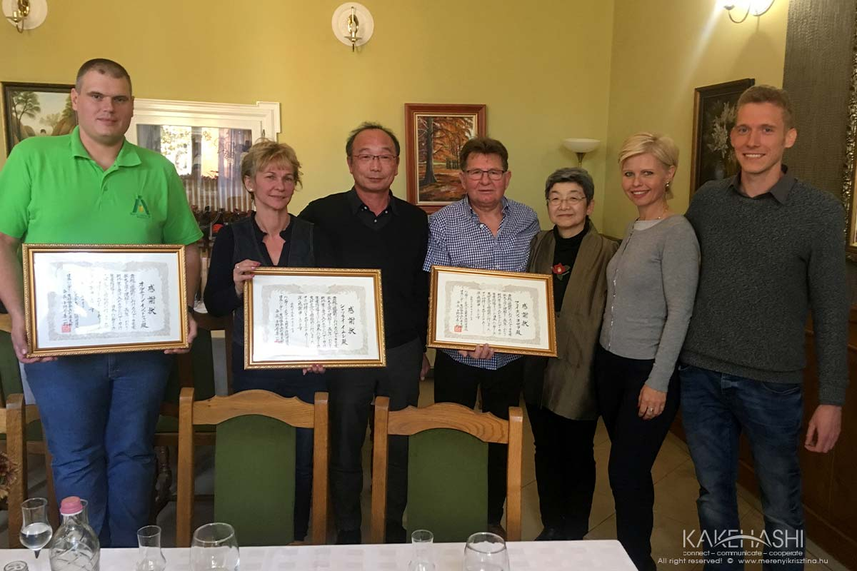 Giving Certificate for the Hungarian paprika gardeners from the Japanese partners for the long term relationship