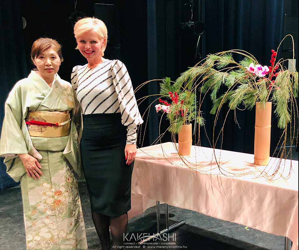With a Japanese ikebana artist in Budapest