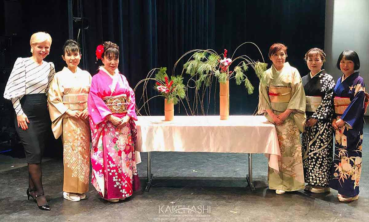 With Ikebana artists in the House of Traditions