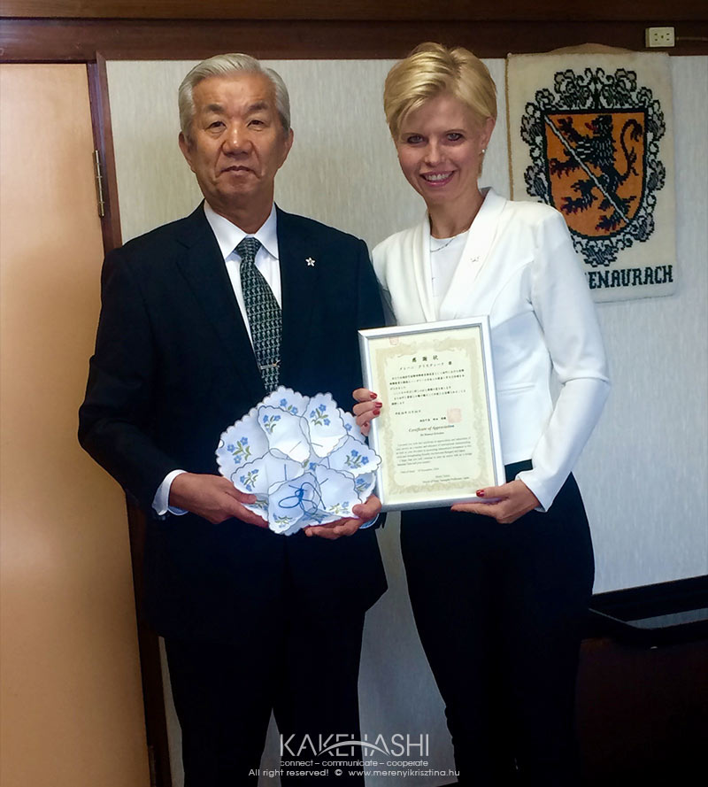 Mr. Tokita, the Mayor of Yuza town gave me a Certificate of Appreciation for my two decade work in twin cities activitiess
